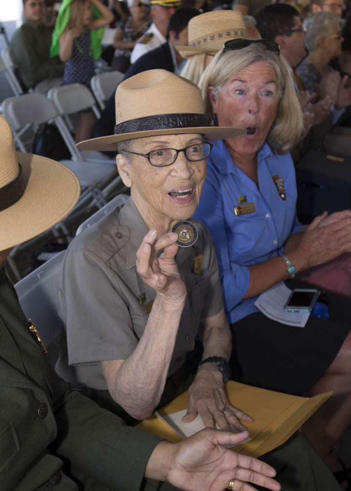 "<div class=""meta image-caption""><div class=""origin-logo origin-image none""><span>none</span></div><span class=""caption-text"">The National Park Service's oldest park ranger, Betty Reid Soskin, received a new presidential coin on July 17, 2016 at the Concord Naval Weapon Station in Concord, Calif. (East Bay Regional Park District)</span></div>"
