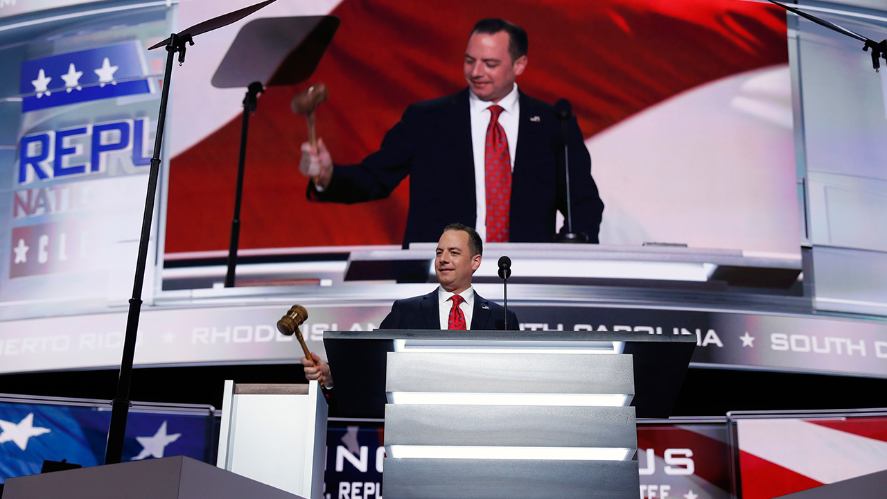 Reince Priebus, Chairman of the Republican National Committee, gavels the convention to order on the opening day of the Republican National Convention in Cleveland.