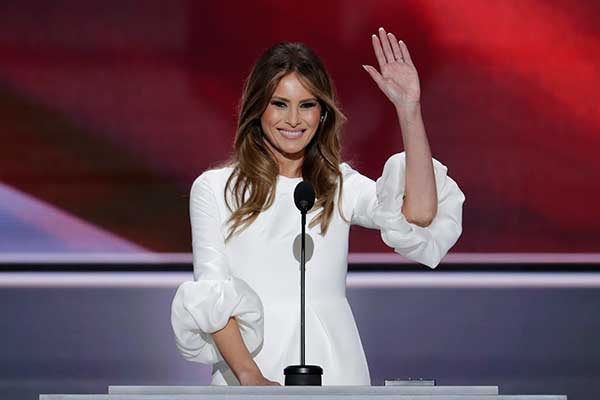 "<div class=""meta image-caption""><div class=""origin-logo origin-image none""><span>none</span></div><span class=""caption-text"">Melania Trump, wife of Republican Presidential Candidate Donald Trump waves as she speaks during the opening day of the Republican National Convention in Cleveland on Monday. (J. Scott Applewhite/AP Photo)</span></div>"