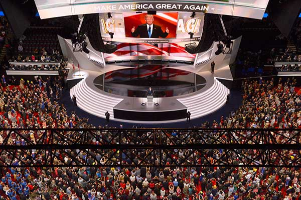 <div class='meta'><div class='origin-logo' data-origin='none'></div><span class='caption-text' data-credit='Mark J. Terrill/AP Photo'>Republican Presidential Candidate Donald Trump steps to the podium to introduce his wife Melania during the opening day of the Republican National Convention in Cleveland.</span></div>