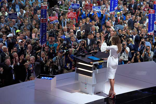"<div class=""meta image-caption""><div class=""origin-logo origin-image none""><span>none</span></div><span class=""caption-text"">Melania Trump, wife of Republican Presidential Candidate Donald Trump waves to the delegates after her speech during the opening day of the Republican National Convention. (Mark J. Terrill/AP Photo)</span></div>"