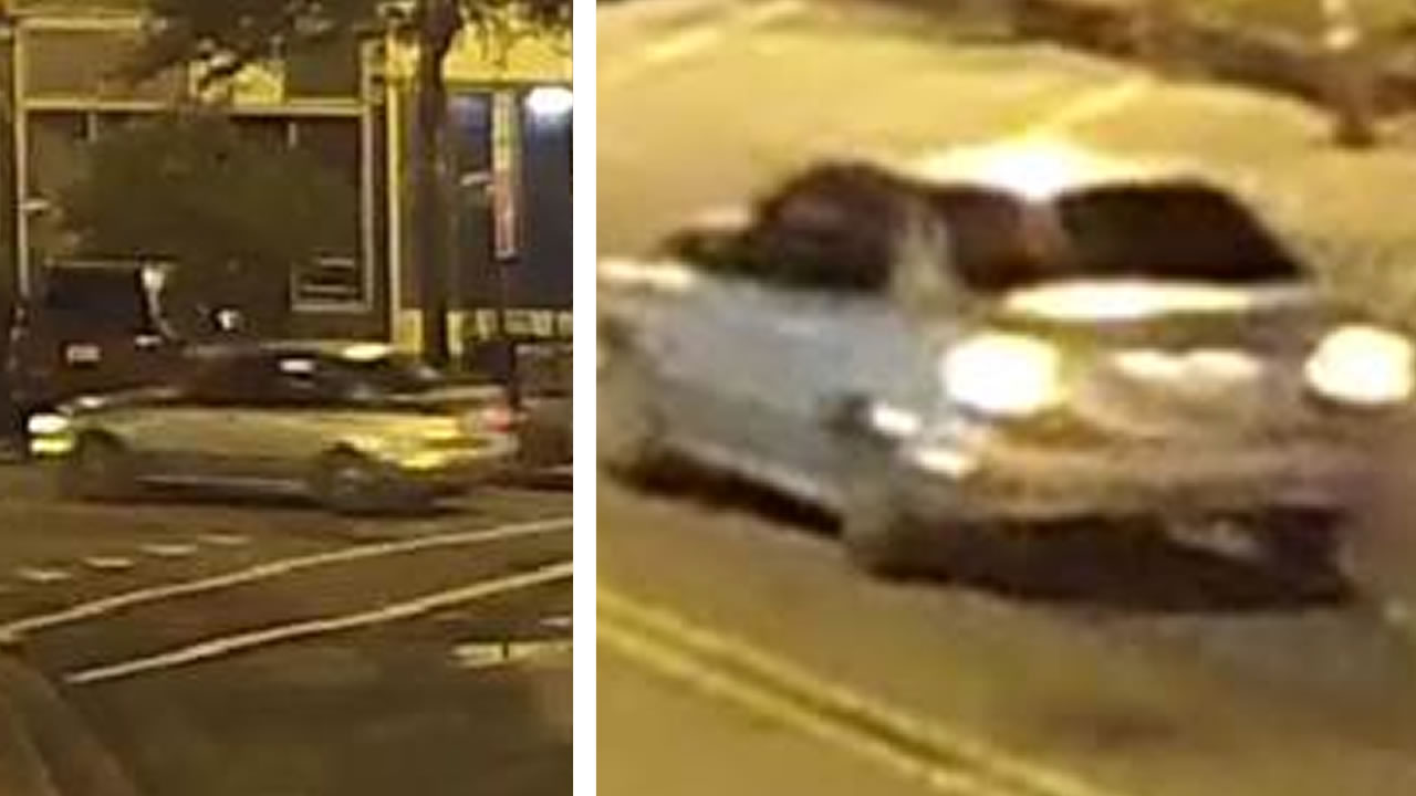 Surveillance video shows suspect's vehicle driving along Person Street