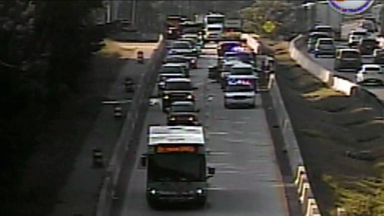 Accident along northbound lanes of Durham Freeway at Briggs Ave.
