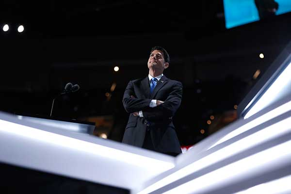 <div class='meta'><div class='origin-logo' data-origin='none'></div><span class='caption-text' data-credit='Carolyn Kaster/AP Photo'>Speaker Paul Ryan of Wisconsin, pauses as he waits for the recount of Alaska's votes during the second day session of the Republican National Convention in Cleveland.</span></div>