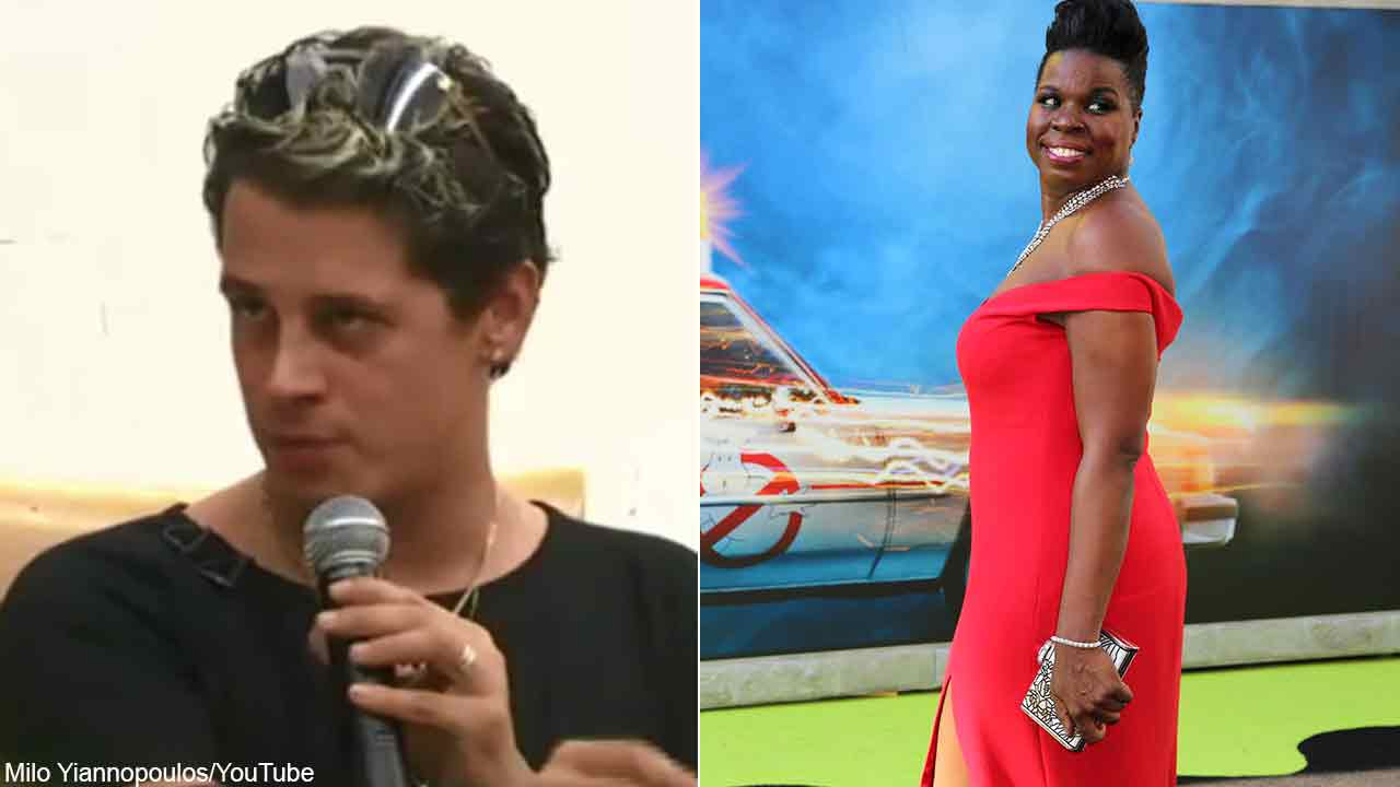 Milo Yiannopoulos, left, is seen in a still image from his YouTube channel. Actress Leslie Jones is seen at the Los Angeles premiere of 'Ghostbusters.'