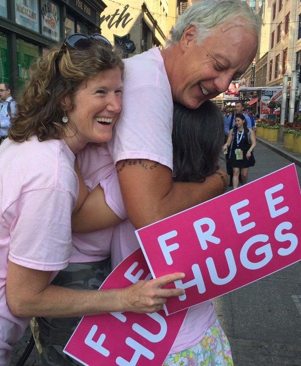 "<div class=""meta image-caption""><div class=""origin-logo origin-image none""><span>none</span></div><span class=""caption-text"">A group of people are seen hugging outside the Republican National Convention in Cleveland, Ohio on Wednesday, July 20, 2016. (KGO-TV)</span></div>"