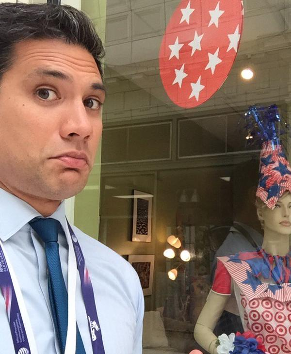 "<div class=""meta image-caption""><div class=""origin-logo origin-image none""><span>none</span></div><span class=""caption-text"">ABC7 anchor Reggie Aqui is seen standing in front of a store near the Republican National Convention in Cleveland, Ohio on Wednesday, July 20, 2016. (KGO-TV)</span></div>"