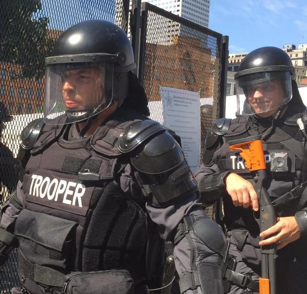 "<div class=""meta image-caption""><div class=""origin-logo origin-image none""><span>none</span></div><span class=""caption-text"">Police are seen wearing riot gear as they respond to a protest outside the Republican National Convention in Cleveland, Ohio on Wednesday, July 20, 2016. (KGO-TV)</span></div>"
