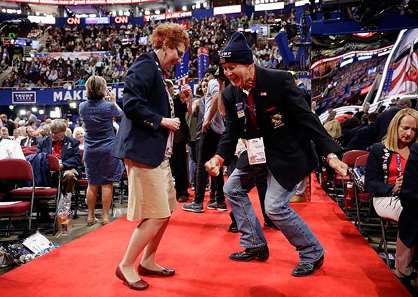 "<div class=""meta image-caption""><div class=""origin-logo origin-image none""><span>none</span></div><span class=""caption-text"">Oklahoma alternate delegate Debbie House, left, and delegate Allie Burgin dance before the start of the third day session of the Republican National Convention in Cleveland. (Matt Rourke/AP Photo)</span></div>"