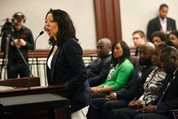 <div class='meta'><div class='origin-logo' data-origin='AP'></div><span class='caption-text' data-credit='AP Photo/Phil Sears'>Lucia McBath, mother of Jordan Davis, speaks Monday, March 10, 2014, during a Committee on Criminal Justice meeting in the Senate Office Building in Tallahassee, Fla.</span></div>