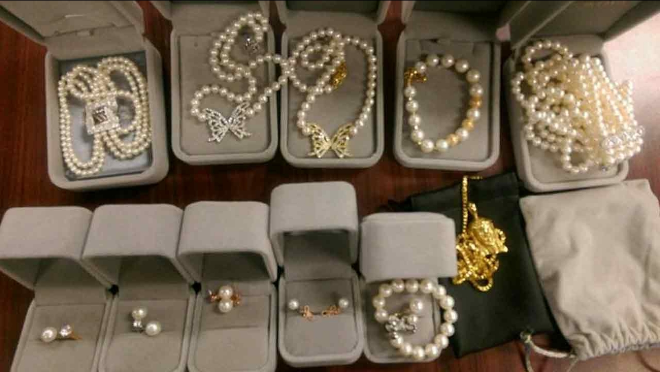 Multiple pieces of stolen jewelry were found during an unrelated arrest by Los Angeles County Sheriff's Department.