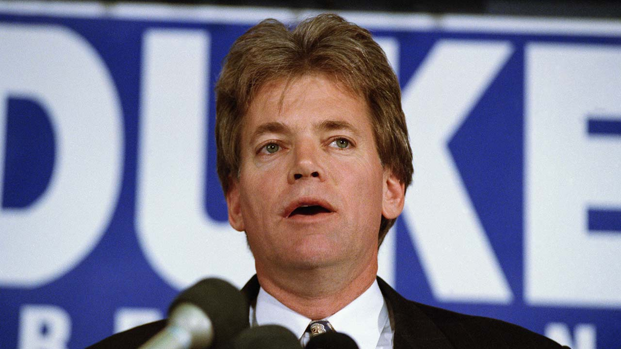 Former KKK Grand Wizard and presidential candidate Duke David speaks in 1991