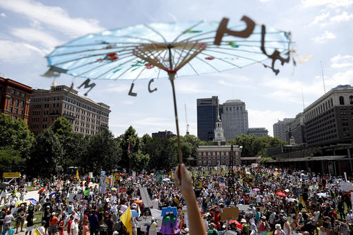"<div class=""meta image-caption""><div class=""origin-logo origin-image ap""><span>AP</span></div><span class=""caption-text"">Protesters filled the streets on Sunday, one day before the Democratic National Convention begins in Philadelphia. (AP)</span></div>"