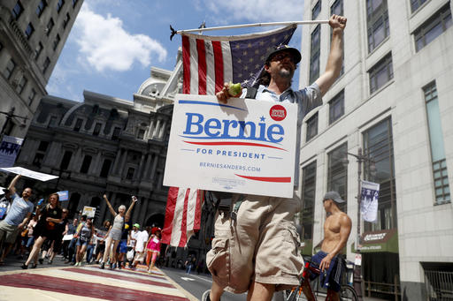 <div class='meta'><div class='origin-logo' data-origin='AP'></div><span class='caption-text' data-credit='AP'>Protesters filled the streets on Sunday, one day before the Democratic National Convention begins in Philadelphia.</span></div>