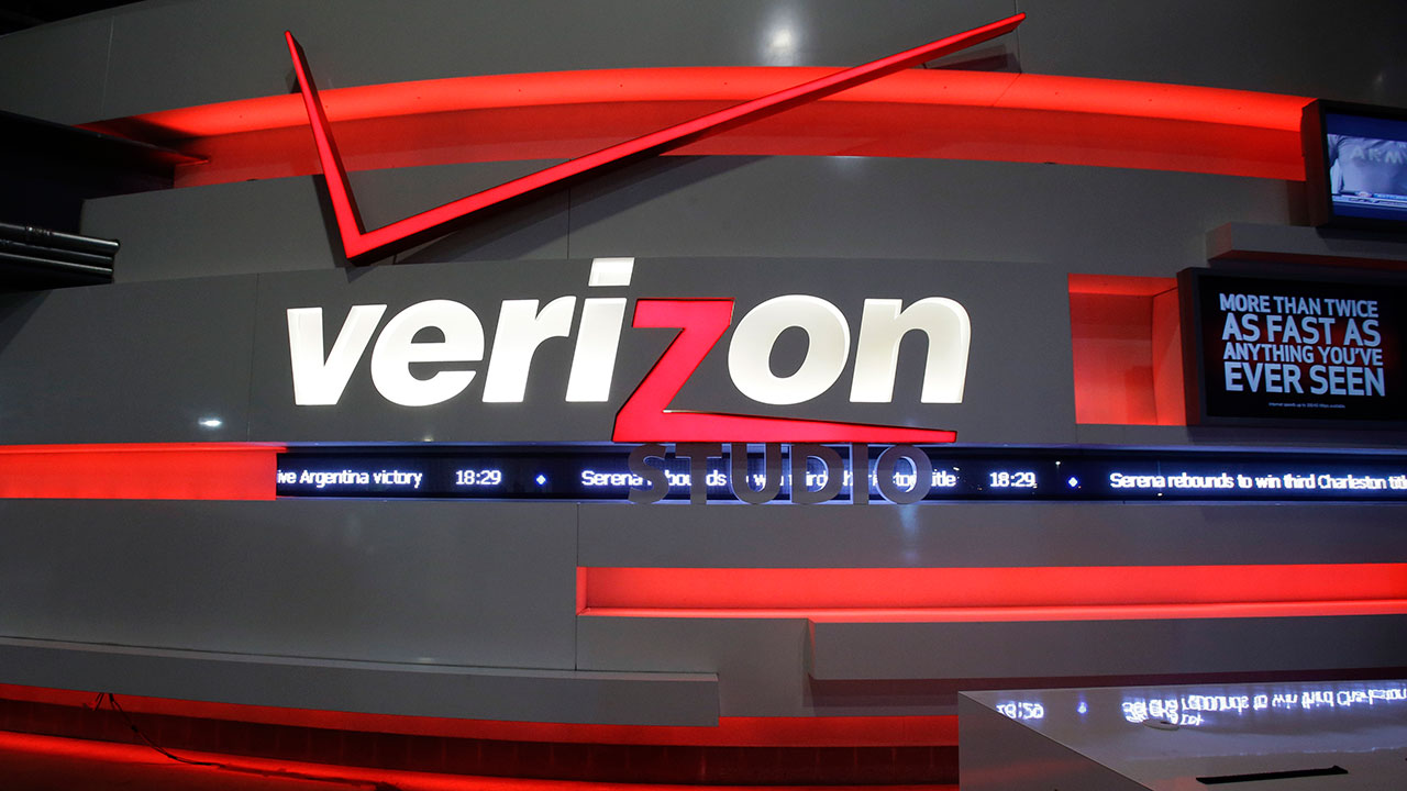File photo - In this April 7, 2013, file photo, the Verizon studio booth at MetLife Stadium in East Rutherford, N.J.