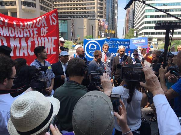 <div class='meta'><div class='origin-logo' data-origin='none'></div><span class='caption-text' data-credit=''>Demonstrators rally in support of Bernie Sanders at City Hall in Center City Philadelphia on Monday, July 25, 2016.</span></div>