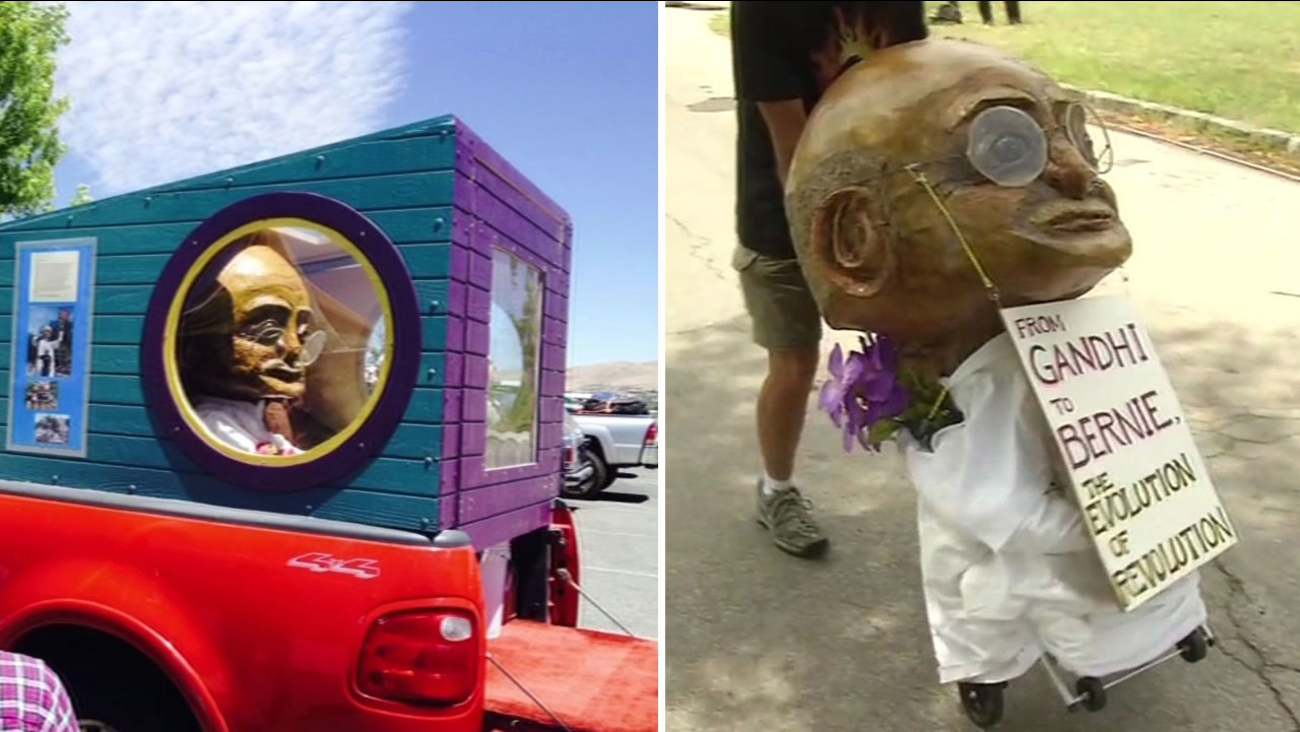 This image shows the Gandhi puppet that has traveled from San Rafael, Calif. to the Democratic National Convention in Philadelphia on July 27, 2016.