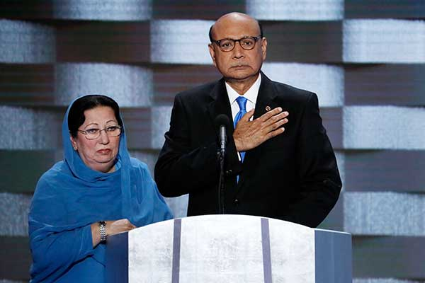 <div class='meta'><div class='origin-logo' data-origin='AP'></div><span class='caption-text' data-credit='J. Scott Applewhite/AP Photo'>Khizr Khan, father of fallen US Army Capt. Humayun S. M. Khan and his wife Ghazala speak during the final day of the Democratic National Convention in Philadelphia on Thursday.</span></div>