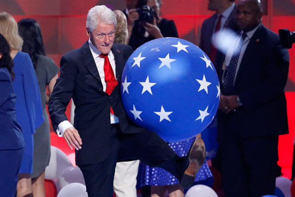 "<div class=""meta image-caption""><div class=""origin-logo origin-image ap""><span>AP</span></div><span class=""caption-text"">Former President Bill Clinton kicks a balloon at the conclusion of the Democratic National Convention in Philadelphia , Thursday, July 28, 2016. (AP Photo/J. Scott Applewhite)</span></div>"