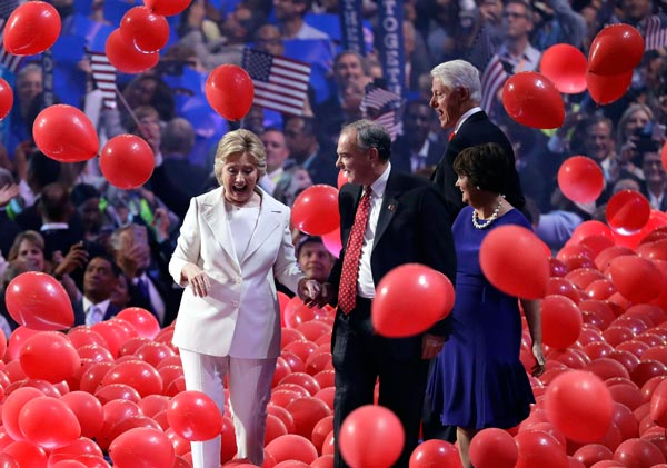 "<div class=""meta image-caption""><div class=""origin-logo origin-image ap""><span>AP</span></div><span class=""caption-text"">Former President Bill Clinton looks at the falling balloons at the conclusion of the Democratic National Convention in Philadelphia , Thursday, July 28, 2016. (AP Photo/J. Scott Applewhite)</span></div>"