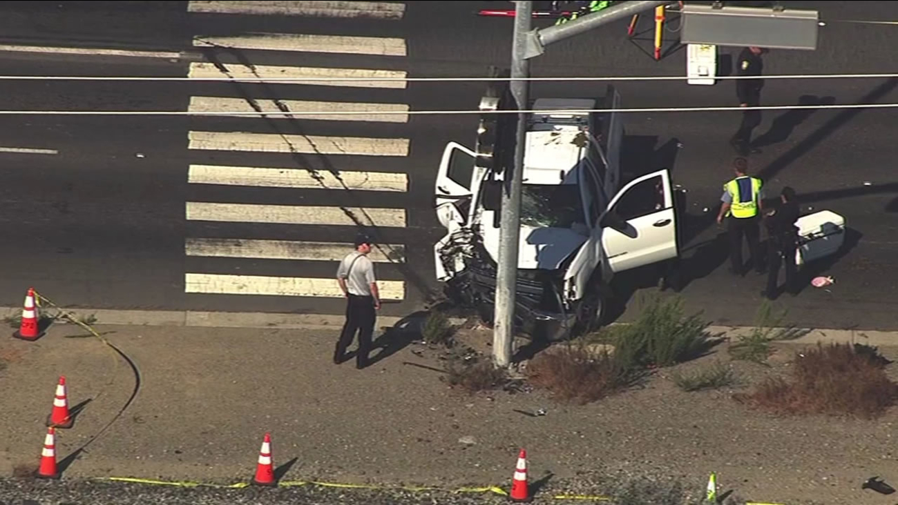 This image shows a fatal car accident in Santa Clara, Calif. at Lafayette Street north of Montague Expressway on July 29, 2016.