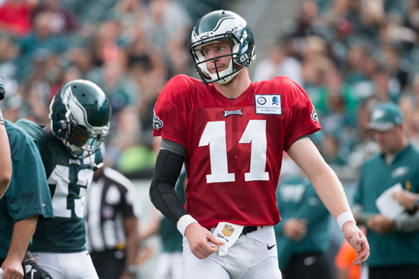 <div class='meta'><div class='origin-logo' data-origin='AP'></div><span class='caption-text' data-credit='AP Photo/Chris Szagola'>Philadelphia Eagles quarterback Carson Wentz looks on during practice at NFL football training camp, Sunday, July 31, 2016, in Philadelphia.</span></div>