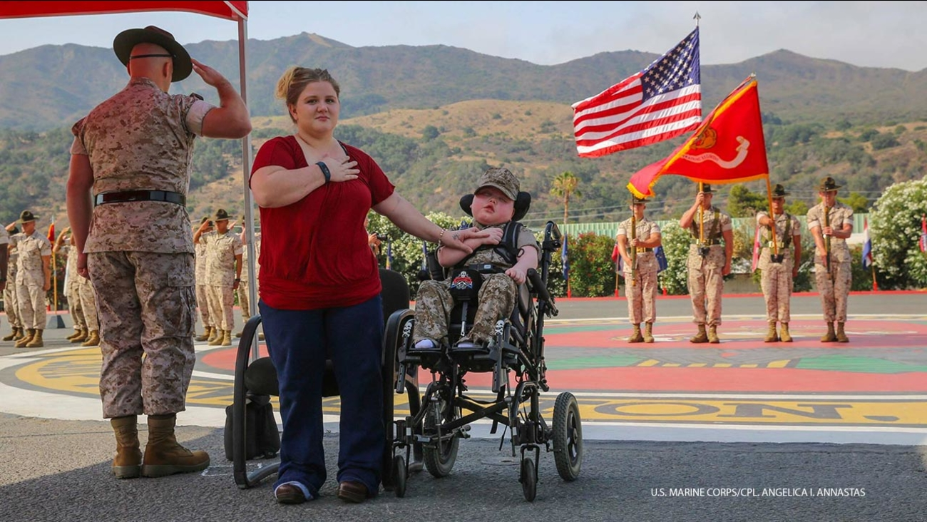 Wyatt Gillette, 8, of Orange, was named an Honorary Marine and a ceremony was held for him on Saturday, July 30, 2016. Wyatt died the following day.