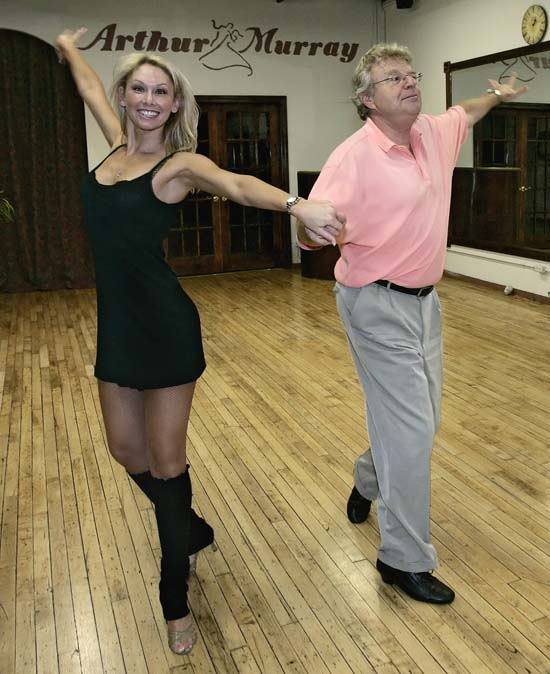 "<div class=""meta image-caption""><div class=""origin-logo origin-image ap""><span>AP</span></div><span class=""caption-text"">Talk-show host Jerry Springer rehearses dance steps with partner Kym Johnson at a dance studio in Chicago on Friday, Aug. 25, 2006. (AP Photo/Charles Rex Arbogast)</span></div>"