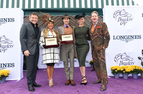 "<div class=""meta image-caption""><div class=""origin-logo origin-image ap""><span>AP</span></div><span class=""caption-text"">Robert Herjavec, left, Kym Johnson, second right,  Carson Kressley, right, pose with Longines Prize of Elegance winners (Diane Bondareff/Invsion for Longines/AP Images)</span></div>"