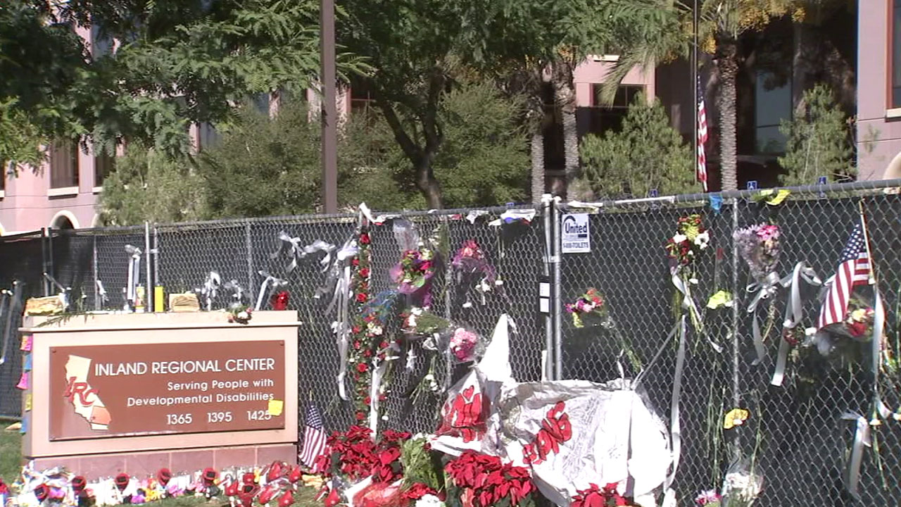 A memorial is shown at the site of the Dec. 2 San Bernardino terror attack a few days after it happened.