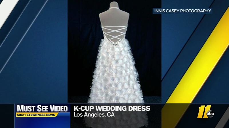 K Cup Couture Fashion Designer Uses 500 Keurig Pods To Make Wedding Dress Abc11 Raleigh Durham