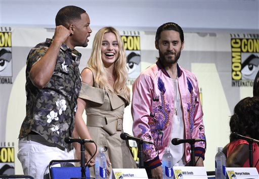 "<div class=""meta image-caption""><div class=""origin-logo origin-image none""><span>none</span></div><span class=""caption-text"">Will Smith, from left, Margot Robbie, and Jared Leto attend the ""Suicide Squad"" panel at Comic-Con International on Saturday, July 23, 2016 (Chris Pizzello/Invision/AP)</span></div>"