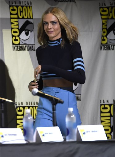 "<div class=""meta image-caption""><div class=""origin-logo origin-image none""><span>none</span></div><span class=""caption-text"">Cara Delevingne walks on stage at the ""Suicide Squad"" panel on day 3 of Comic-Con International on Saturday, July 23, 2016, in San Diego. (Photo by Chris Pizzello/Invision/AP) (Chris Pizzello/Invision/AP)</span></div>"