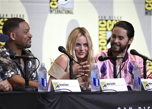 "<div class=""meta image-caption""><div class=""origin-logo origin-image none""><span>none</span></div><span class=""caption-text"">Will Smith, from left, Margot Robbie and Jared Leto attend the ""Suicide Squad"" panel on day 3 of Comic-Con International (Chris Pizzello/Invision/AP)</span></div>"