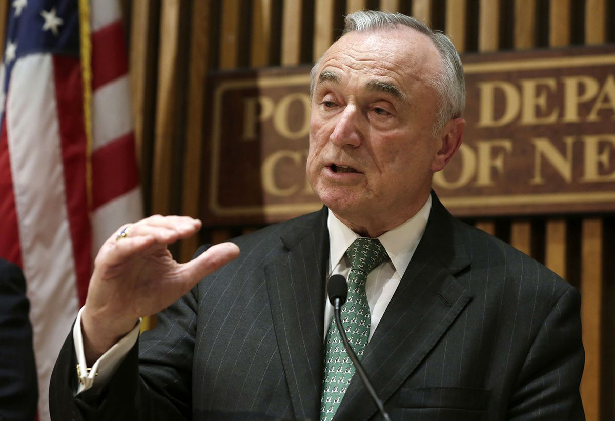 "<div class=""meta image-caption""><div class=""origin-logo origin-image ap""><span>AP</span></div><span class=""caption-text"">In this Jan. 12, 2015, file photo, New York City Police Commissioner William Bratton speaks during a news conference at police headquarters in New York. (AP Photo/Richard Drew)</span></div>"