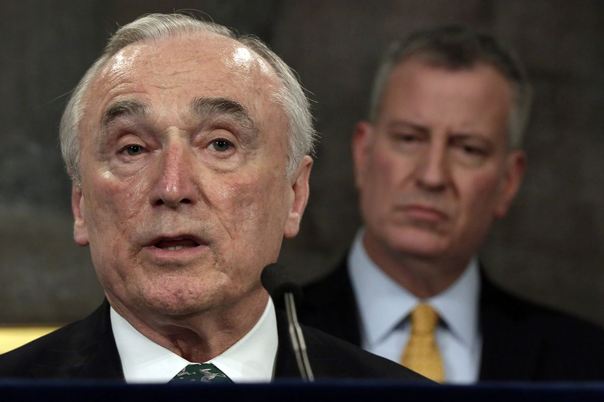 "<div class=""meta image-caption""><div class=""origin-logo origin-image ap""><span>AP</span></div><span class=""caption-text"">Jan. 12, 2016 file photo, New York City Police Commissioner William Bratton, left, speaks during a news conference in New York's City Hall, as New York Mayor Bill de Blasio listens (AP Photo/Richard Drew)</span></div>"
