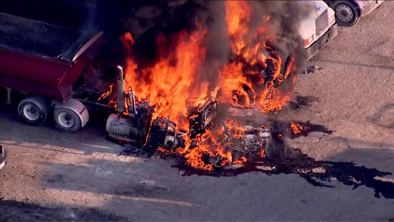 A dump truck caught fire Tuesday morning and quickly spread to two other truck on Chicago's West Side.