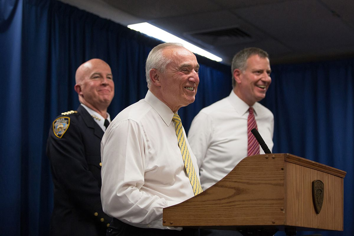 "<div class=""meta image-caption""><div class=""origin-logo origin-image ap""><span>AP</span></div><span class=""caption-text"">NYPD Commissioner Bill Bratton, with New York City Mayor Bill de Blasio, right, and NYPD Chief of Department James O'Neill, left, speaks during a press conference June 10, 2015. (AP Photo/Kevin Hagen)</span></div>"