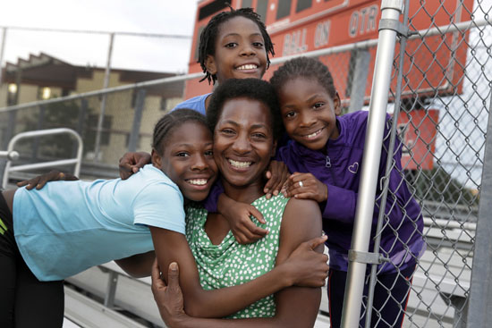 "<div class=""meta image-caption""><div class=""origin-logo origin-image ap""><span>AP</span></div><span class=""caption-text"">In this July 11, 2016 photo, Tonia Handy, 46, is surrounded by her children, Tai Sheppard, 11, Rainn Sheppard, 10, and Brooke Sheppard, 8, left to right, after track workouts. (Richard Drew)</span></div>"