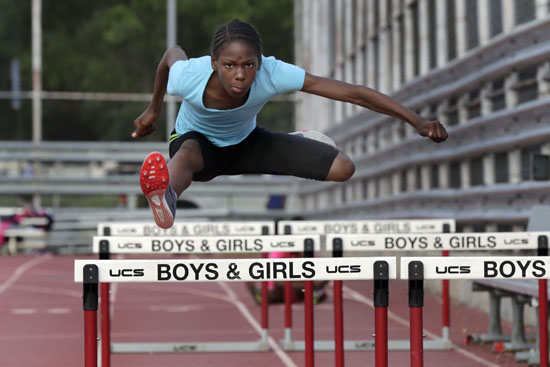 "<div class=""meta image-caption""><div class=""origin-logo origin-image ap""><span>AP</span></div><span class=""caption-text"">In this July 11, 2016 photo, Tai Sheppard, 11, practices hurdles at Boys and Girls High School, in the Brooklyn borough of New York. (Richard Drew)</span></div>"