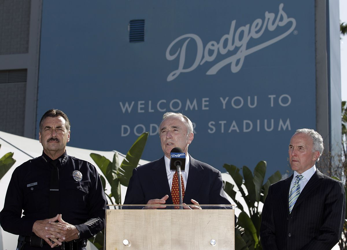 "<div class=""meta image-caption""><div class=""origin-logo origin-image ap""><span>AP</span></div><span class=""caption-text"">Former Los Angeles Police Chief William Bratton, center, who is hired as a security consultant for the Los Angles Dodgers, speaks during a news conference April 14, 2011. (AP Photo/Jae C. Hong)</span></div>"