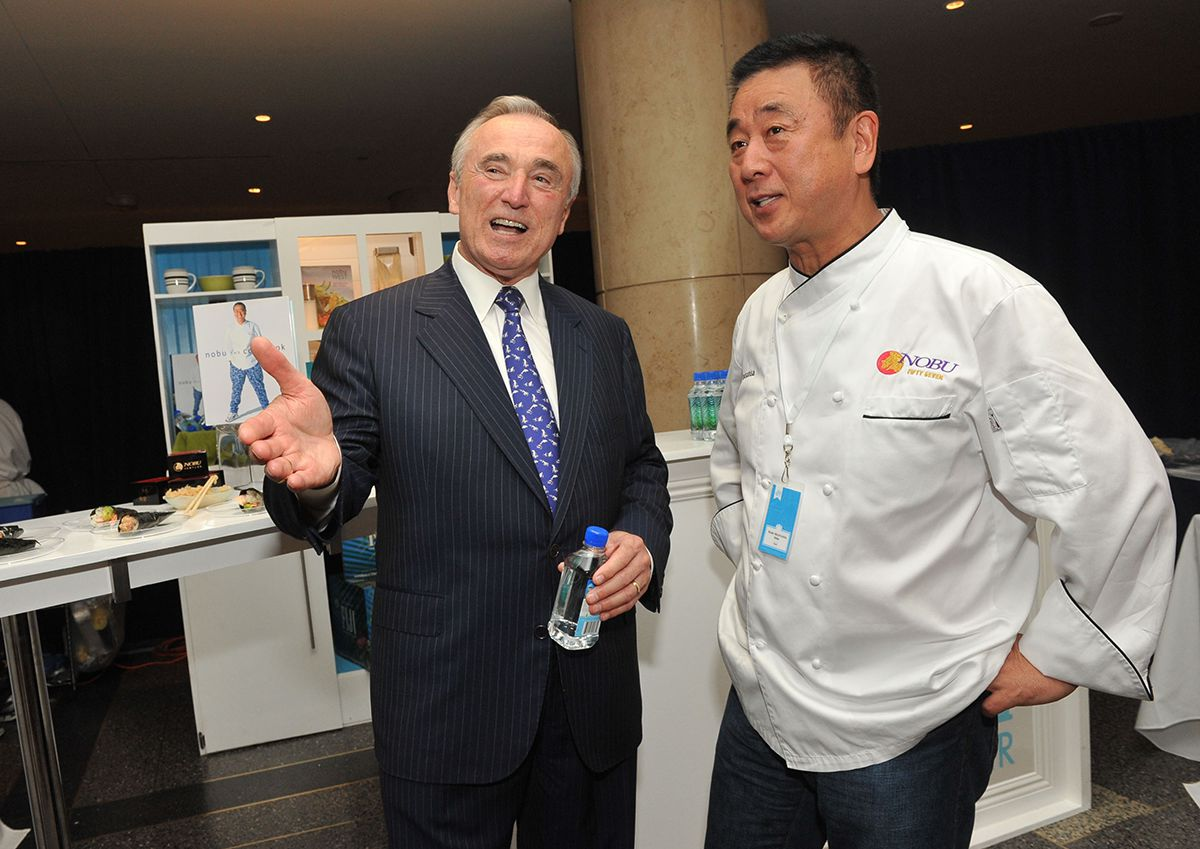 "<div class=""meta image-caption""><div class=""origin-logo origin-image ap""><span>AP</span></div><span class=""caption-text"">Chef Nobu Matsuhisa, right, and former LAPD Police Chief William Bratton at the FIJI Water Kitchen during the ""Silver Spoons: 25 Years of Chefs & Celebrations"" event June 14, 2010. (Diane Bondareff/AP Images for FIJI Water)</span></div>"