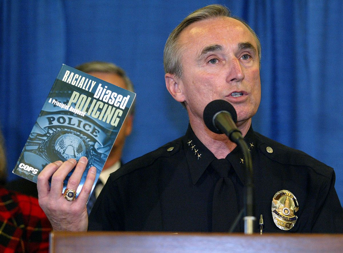 "<div class=""meta image-caption""><div class=""origin-logo origin-image ap""><span>AP</span></div><span class=""caption-text"">Los Angeles Police Chief William Bratton quotes from a book about racial profiling, during the announcement of the first posting of data collected by the LAPD Jan. 6, 2003. (AP Photo/Chris Carlson)</span></div>"