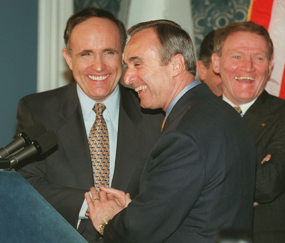 "<div class=""meta image-caption""><div class=""origin-logo origin-image ap""><span>AP</span></div><span class=""caption-text"">Police Commissioner William Bratton, center, shares a laugh with New York Mayor Rudolph Giuliani, left, during a news conference Tuesday, March 26, 1996 at City Hall in New York. (AP Photo/Richard Drew)</span></div>"