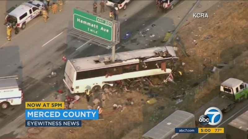 Highway Sign Rips Through Bus In Central California Crash Killing 4