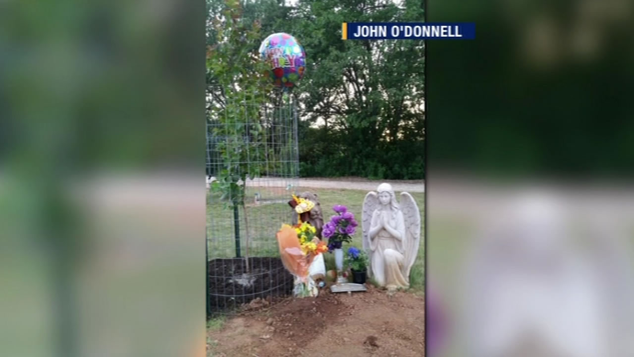This image shows statues that were stolen from the grave of John O'Donnell's infant son in Lakeport, Calif.