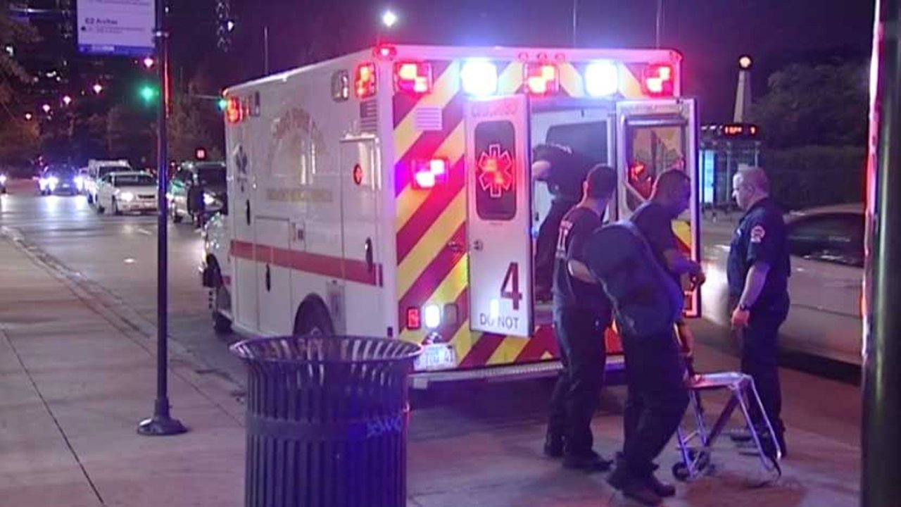 Paramedics put a stabbing victim into an ambulance late Wednesday in the Loop. | Network Video Productions