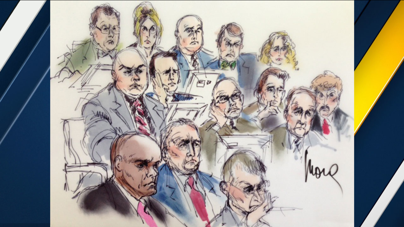 Six of the seven Los Angeles County sheriff's officials are shown above in a court sketch.
