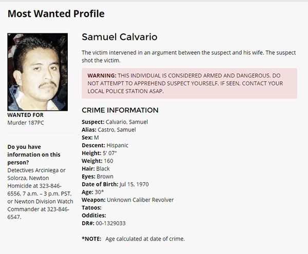 Samuel Calvario's 'most wated profile' is seen on the Los Angeles Police Department's website.