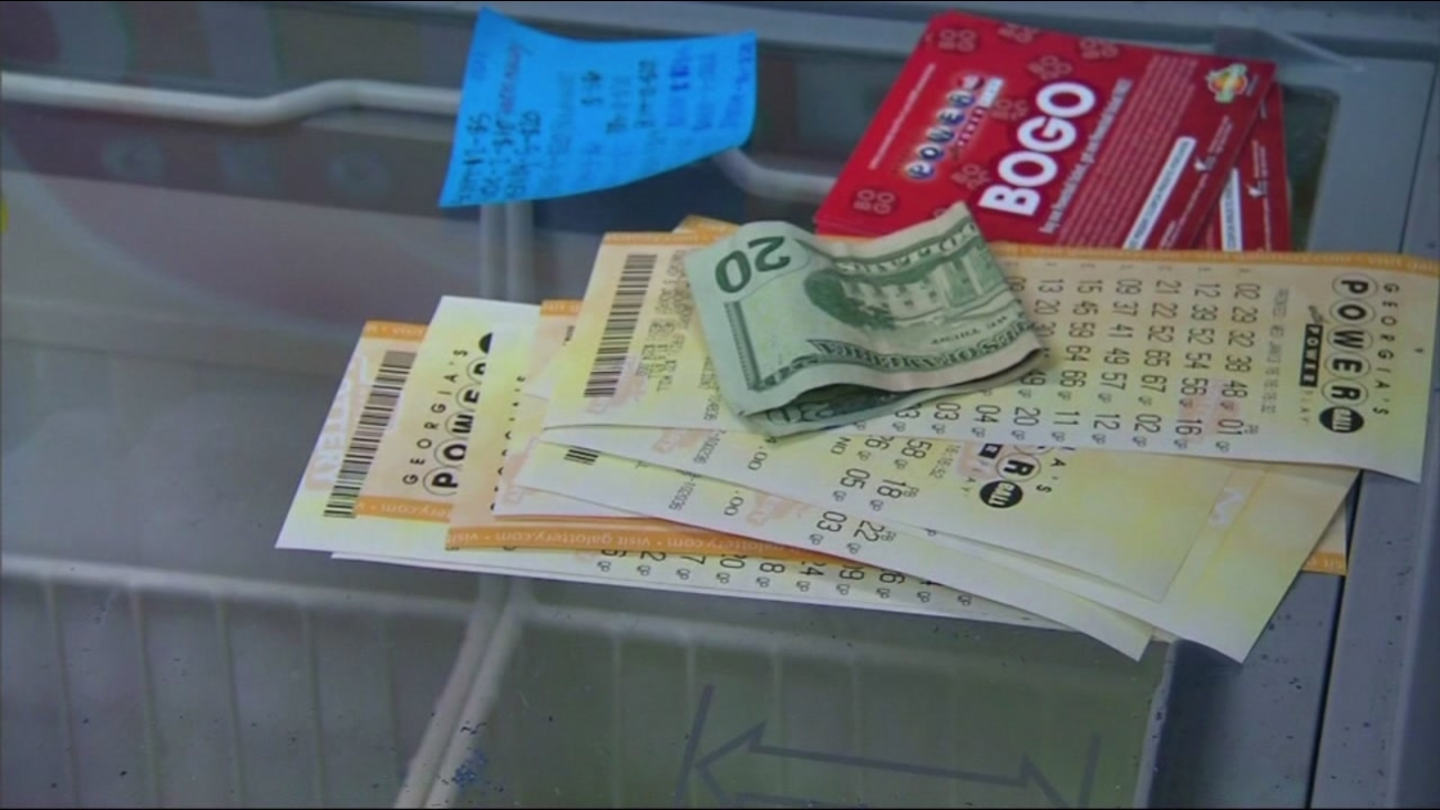 A Powerball ticket is seen on a store counter in this undated image.
